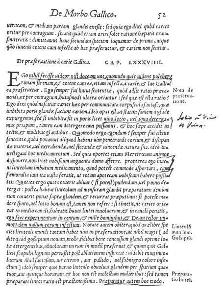 Figure 1. A page from De Morbo Gallico (The French Disease), Gabriele Fallopio's treatise on syphilis. Published in 1564, it describes what is possibly the first use of condoms for disease prevention in modern times.