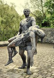 Cuchullain carrying Ferdia's body after their battle. Sculpture.